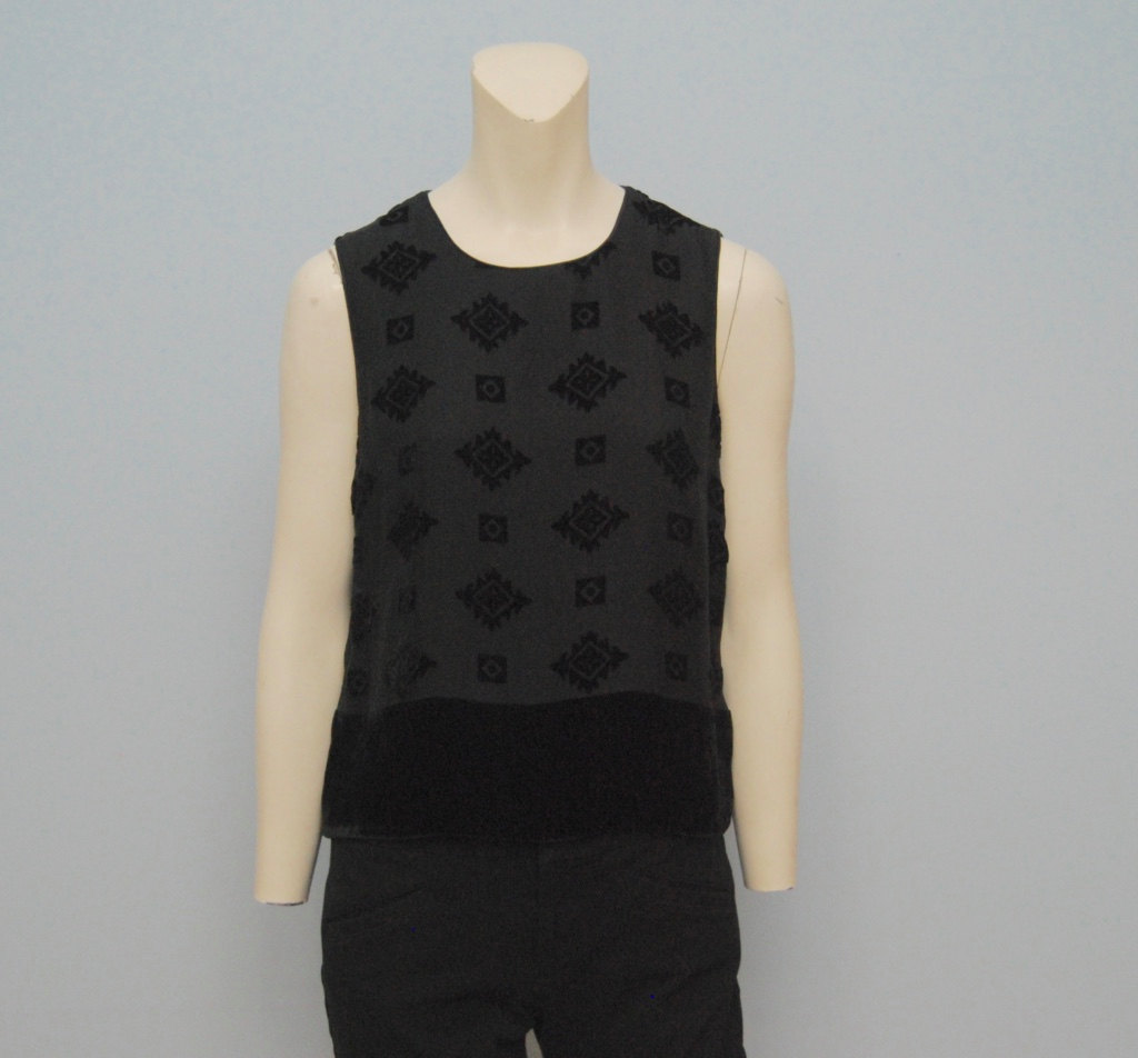 Black Velvet Aztec Patterned 1990's Vintage Top
