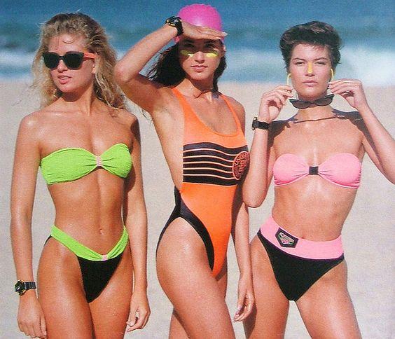 1980s neon swimwear