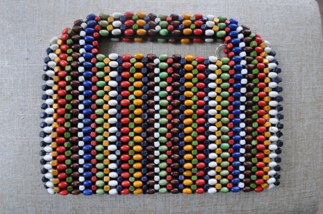 Vintage wood bead clutch purse. Colorful beads with black lining, zipper, handles. 1960's. Red, white, blue, green, brown, yellow, navy