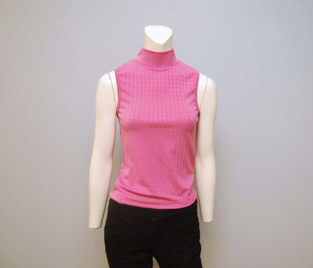 1990's Pink Sleeveless Mock-Turtleneck