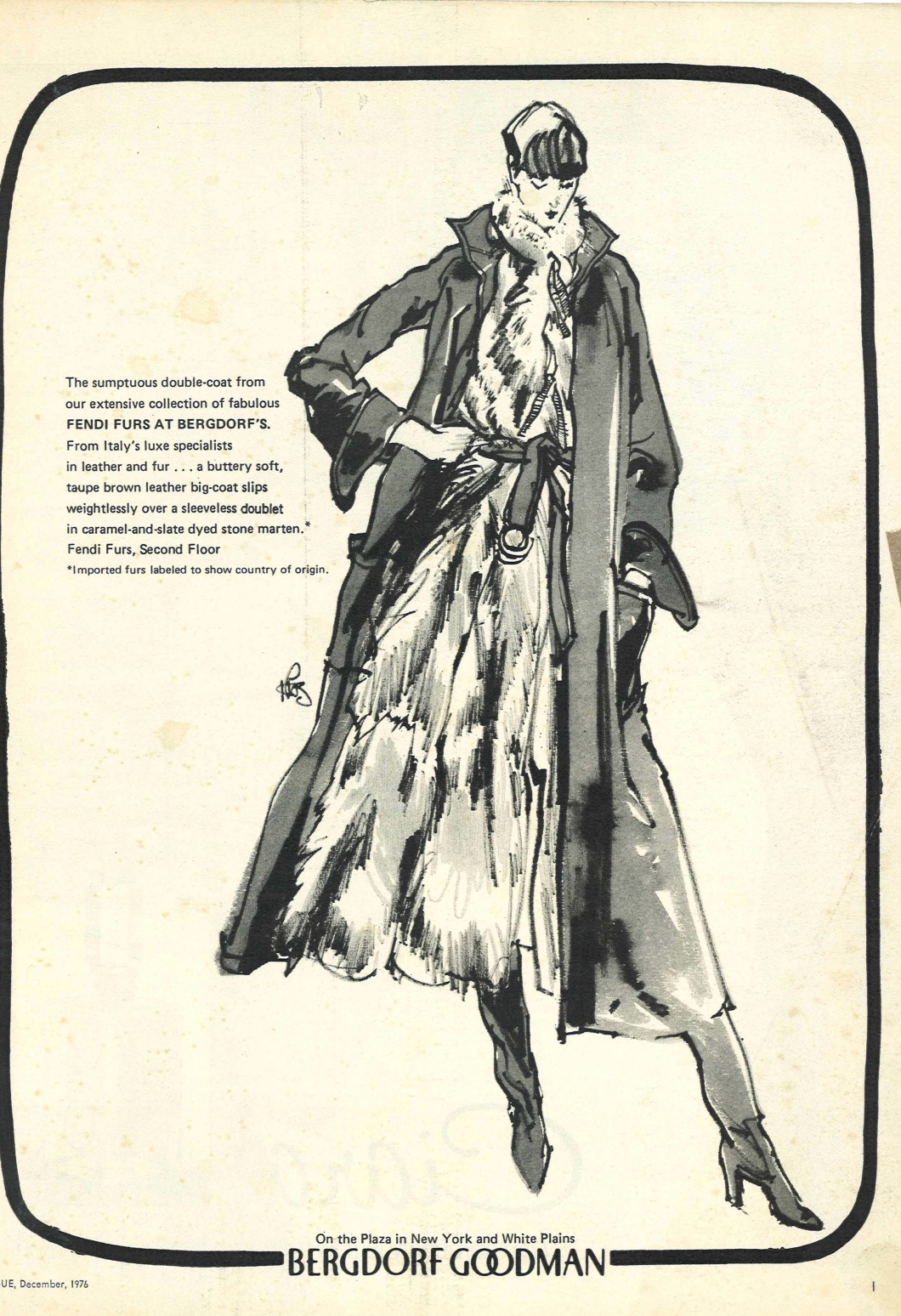 Vogue December 1976 Vintage Fashion ad from the 1970's