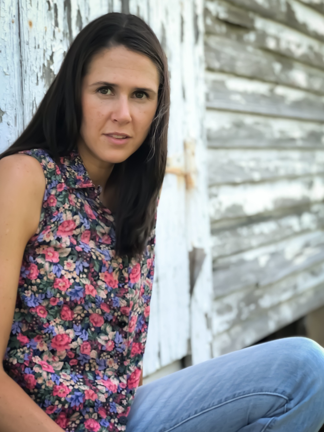 Amy Barnard Photoshoot for The Block Vintage - 1990's Floral Button Front Sleeveless Top Shirt