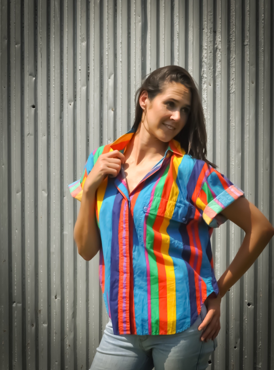 Amy Barnard Photoshoot for The Block Vintage - 1990's Rainbow Button Front Blouse Top Shirt