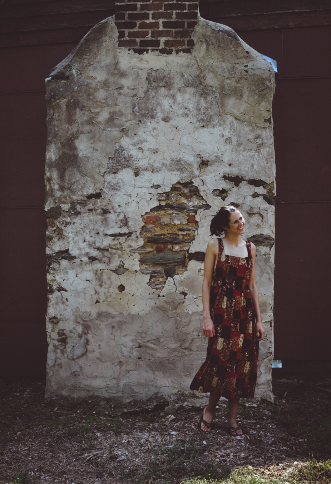 Amy Barnard Photoshoot for The Block Vintage - 1990's Patchwork Midi Maxi Dress