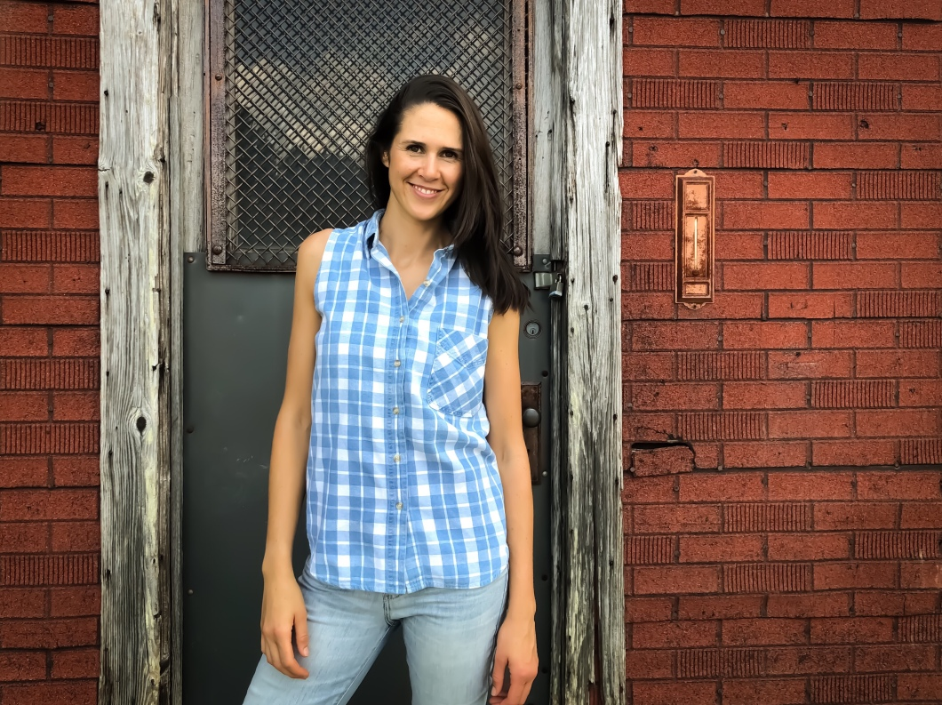 Amy Barnard Photoshoot for The Block Vintage - 1990's Plaid Denim Button Front Sleeveless Top Shirt