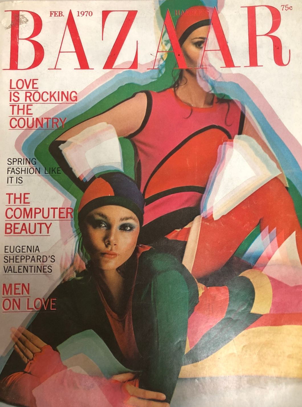 Vintage Fashion Magazine Cover Harper's Bazaar Feb 1970