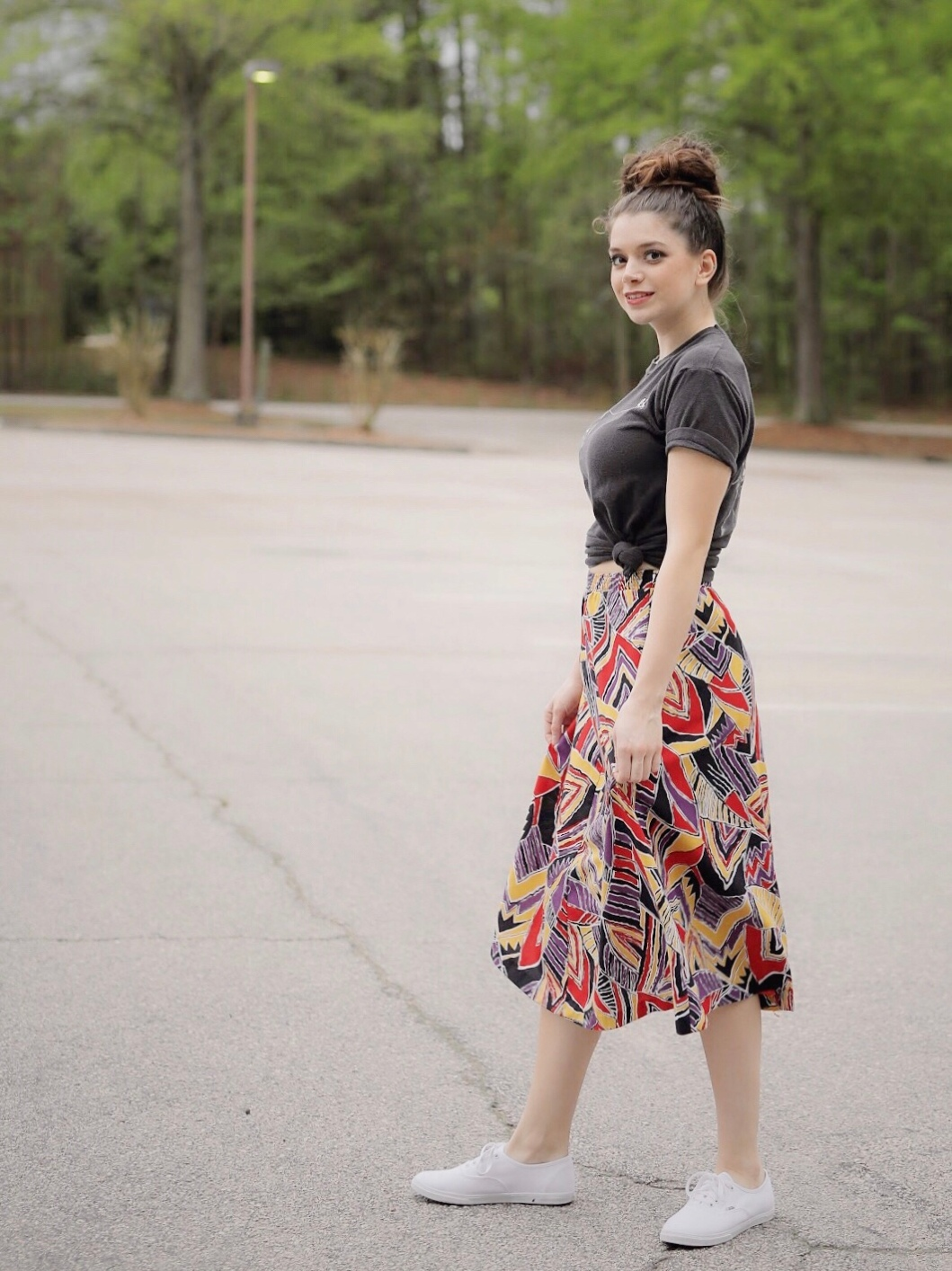 The Block Vintage Patterned Midi Skirt and 1980's R.E.M. Concert T-Shirt